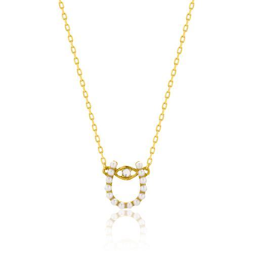 Κολιέ κίτρινο επιχρυσωμένο ασήμι 925, πέταλο με μάτι και μαργαριτάρια.