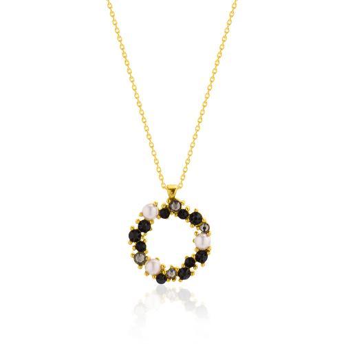 Κολιέ κίτρινο επιχρυσωμένο ασήμι 925, κύκλος με μαργαριτάρια και μαύρα ζιργκόν.