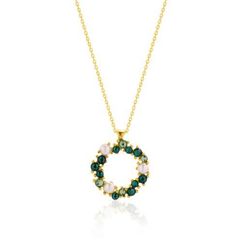 Κολιέ κίτρινο επιχρυσωμένο ασήμι 925, κύκλος με μαργαριτάρια και πράσινα ζιργκόν.