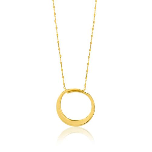 Κολιέ κίτρινο επιχρυσωμένο ασήμι 925, κύκλος.