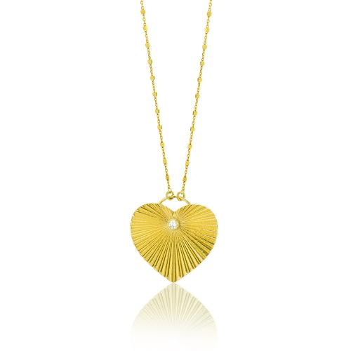 Κολιέ κίτρινο επιχρυσωμένο ασήμι 925, καρδιά με λευκό ζιργκόν.