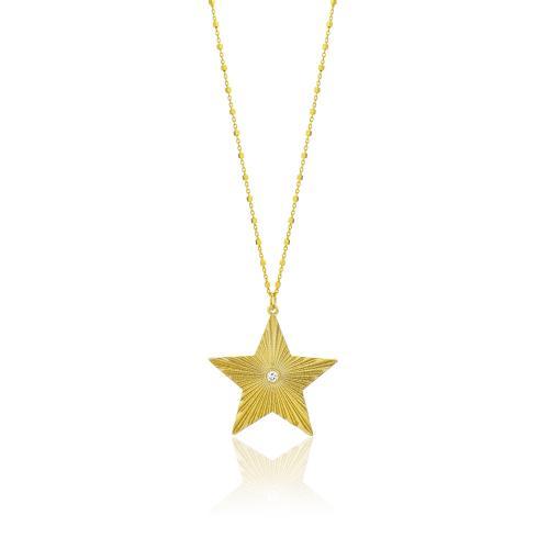 Κολιέ κίτρινο επιχρυσωμένο ασήμι 925, αστέρι με λευκό ζιργκόν.