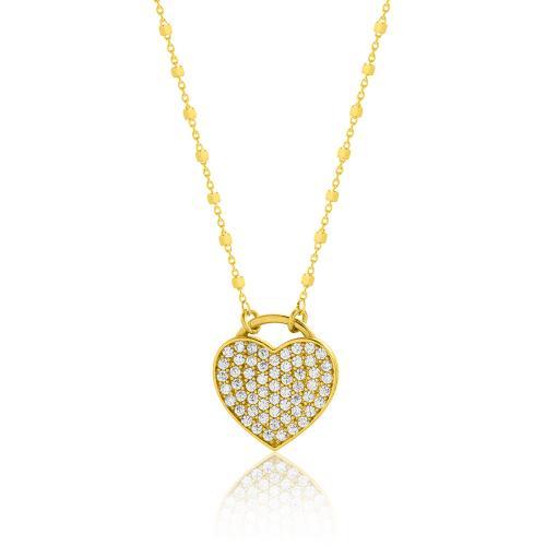 Κολιέ κίτρινο επιχρυσωμένο ασήμι 925, καρδιά με λευκά ζιργκόν.