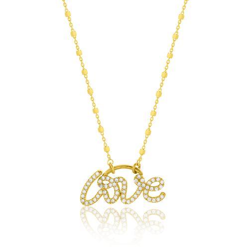 Κολιέ κίτρινο επιχρυσωμένο ασήμι 925, ''love'' με λευκά ζιργκόν.