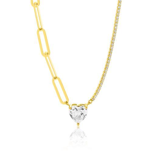 Κολιέ κίτρινο επιχρυσωμένο ασήμι 925, λευκά ζιργκόν και καρδιά με λευκό μονόπετρο.