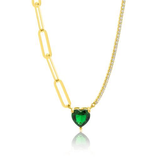 Κολιέ κίτρινο επιχρυσωμένο ασήμι 925, λευκά ζιργκόν και καρδιά με πράσινο μονόπετρο.