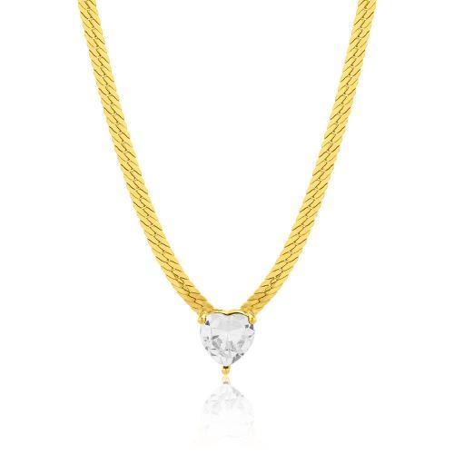 Κολιέ κίτρινο επιχρυσωμένο ασήμι 925, αλυσίδα και καρδιά με λευκό μονόπετρο.