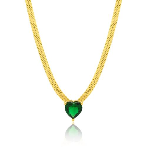 Κολιέ κίτρινο επιχρυσωμένο ασήμι 925, αλυσίδα και καρδιά με πράσινο μονόπετρο.