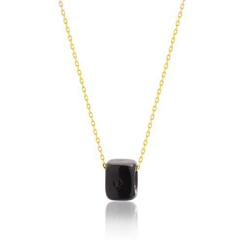 Κολιέ κίτρινο επιχρυσωμένο ασήμι 925, μαύρη πέτρα από γυαλί Μουράνο.