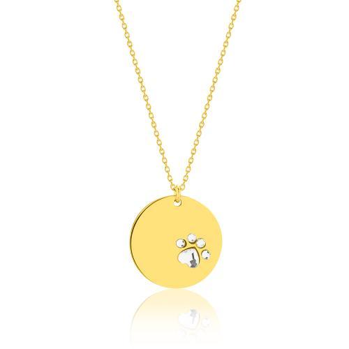 Κολιέ κίτρινο επιχρυσωμένο ασήμι 925, μικρό φλουρί πατούσα με λευκά ζιργκόν.