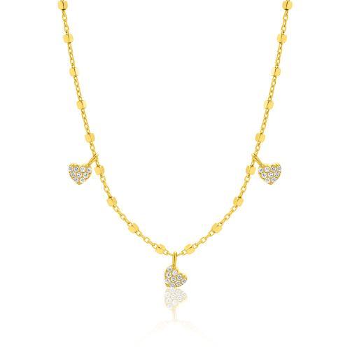Κολιέ κίτρινο επιχρυσωμένο ασήμι 925, καρδιές με λευκά ζιργκόν.
