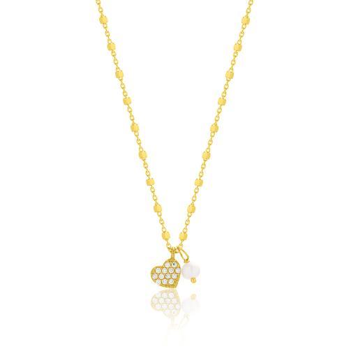 Κολιέ κίτρινο επιχρυσωμένο ασήμι 925, καρδιά με μαργαριτάρι και λευκά ζιργκόν.