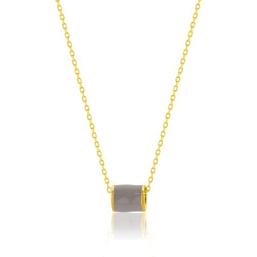 Yellow gold plated sterling silver necklace, grey enamel cylinder.