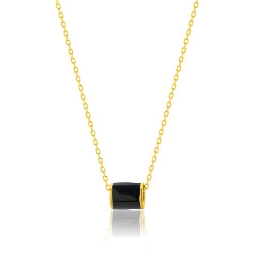 Yellow gold plated sterling silver necklace, black enamel cylinder.
