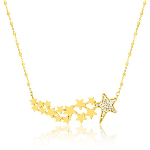 Κολιέ κίτρινο επιχρυσωμένο ασήμι 925, αστέρια με λευκά ζιργκόν.