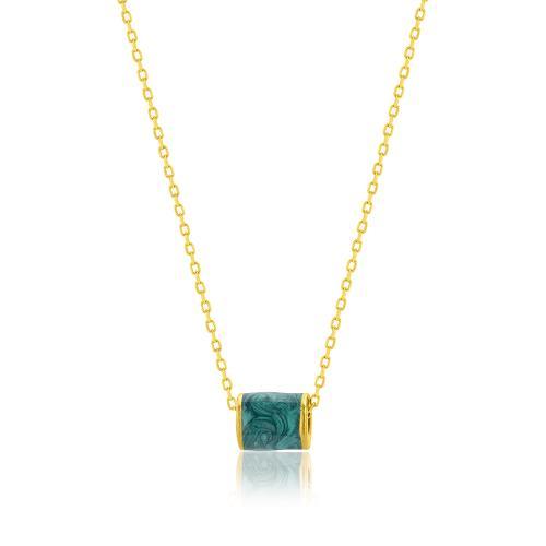 Κολιέ κίτρινο επιχρυσωμένο ασήμι 925, κύλινδρος με πράσινο σμάλτο.