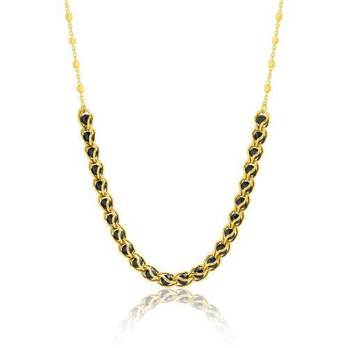 Κολιέ κίτρινο επιχρυσωμένο ασήμι 925, μαύρες ημιπ. πέτρες.