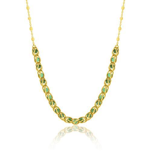 Κολιέ κίτρινο επιχρυσωμένο ασήμι 925, πράσινες ημιπ. πέτρες.