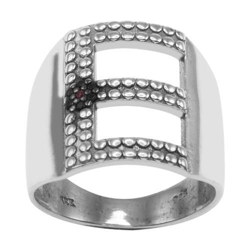 Δαχτυλίδι ασήμι 925, μονόγραμμα Ε και μάτι από μαύρα ζιργκόν.