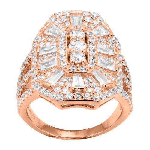 Δαχτυλίδι ροζ επιχρυσωμένο ασήμι 925, λευκά ζιργκόν.