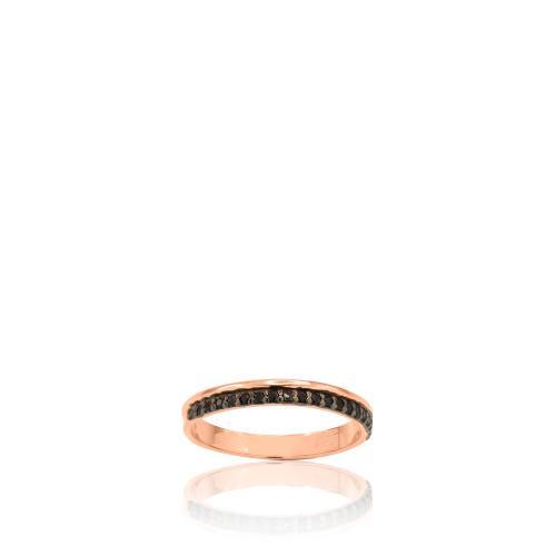 Δαχτυλίδι ροζ επιχρυσωμένο ασήμι 925, μαύρα ζιργκόν.
