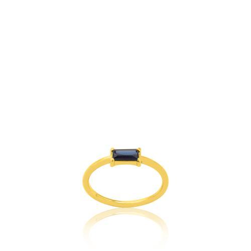 Δαχτυλίδι κίτρινο επιχρυσωμένο ασήμι 925, μπλε ζιργκόν.
