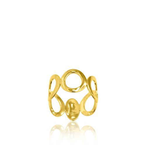 Δαχτυλίδι κίτρινο επιχρυσωμένο ασήμι 925, οβάλ κύκλοι.