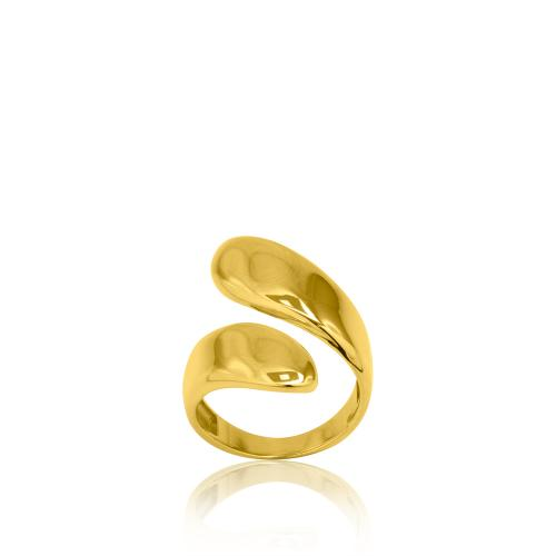 Δαχτυλίδι κίτρινο επιχρυσωμένο ασήμι 925, φύλλα.