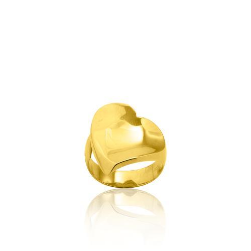 Δαχτυλίδι κίτρινο επιχρυσωμένο ασήμι 925, καρδιά.