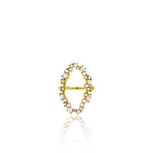 Δαχτυλίδι κίτρινο επιχρυσωμένο ασήμι 925, κύκλος με μαργαριτάρια και λευκά ζιργκόν.