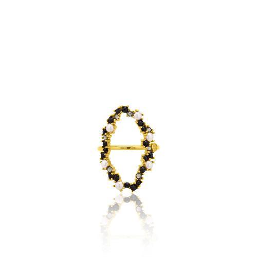 Δαχτυλίδι κίτρινο επιχρυσωμένο ασήμι 925, κύκλος με μαργαριτάρια και μαύρα ζιργκόν.