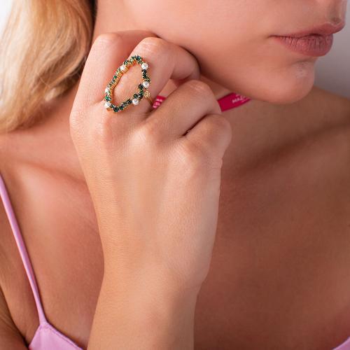 Δαχτυλίδι κίτρινο επιχρυσωμένο ασήμι 925, κύκλος με μαργαριτάρια και πράσινα ζιργκόν.
