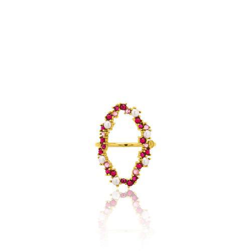 Δαχτυλίδι κίτρινο επιχρυσωμένο ασήμι 925, κύκλος με μαργαριτάρια και φούξια ζιργκόν.