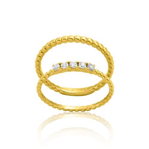 Δαχτυλίδι διπλό κίτρινο επιχρυσωμένο ασήμι 925, λευκά ζιργκόν.