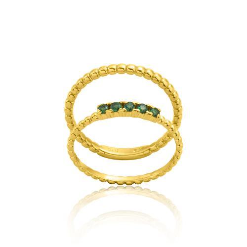 Δαχτυλίδι διπλό κίτρινο επιχρυσωμένο ασήμι 925, πράσινα ζιργκόν.