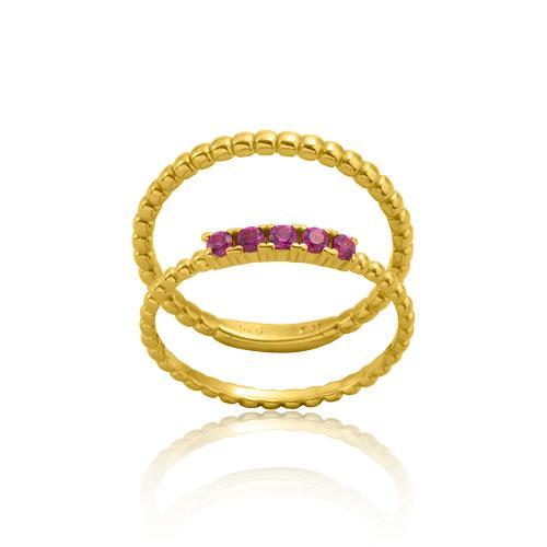 Δαχτυλίδι διπλό κίτρινο επιχρυσωμένο ασήμι 925, φούξια ζιργκόν.