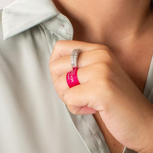 Δαχτυλίδι διπλό ασήμι 925, λευκά ζιργκόν.