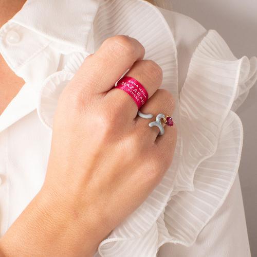 Δαχτυλίδι κίτρινο επιχρυσωμένο ασήμι 925, γκρι σμάλτο και φούξια ζιργκόν.