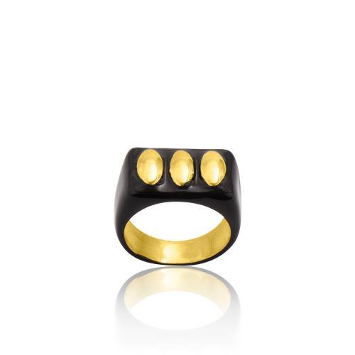 Δαχτυλίδι κίτρινο επιχρυσωμένο ασήμι 925, μαύρο σμάλτο.