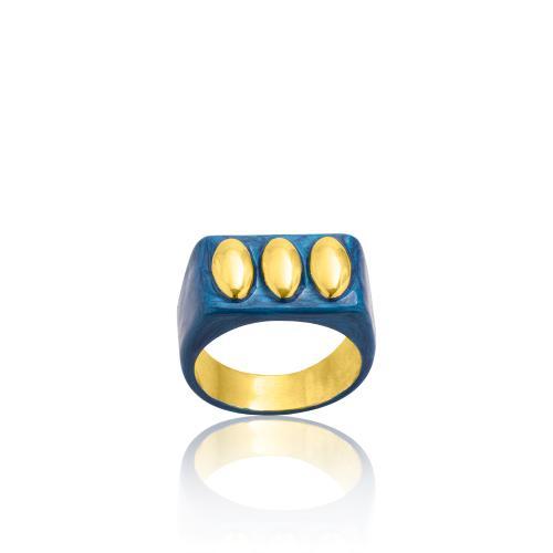 Δαχτυλίδι κίτρινο επιχρυσωμένο ασήμι 925, μπλε σμάλτο.