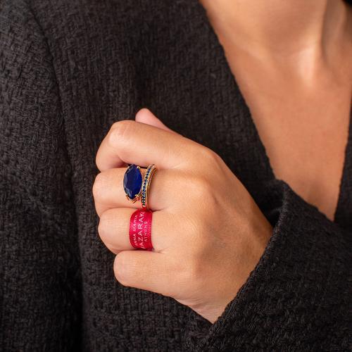 Δαχτυλίδι κίτρινο επιχρυσωμένο ασήμι 925, μπλε ημιπ. πέτρα και μπλε ζιργκόν.