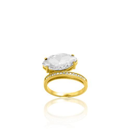 Δαχτυλίδι κίτρινο επιχρυσωμένο ασήμι 925, λευκή ημιπ. πέτρα και λευκά ζιργκόν.