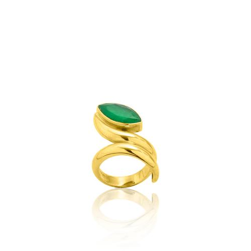 Δαχτυλίδι κίτρινο επιχρυσωμένο ασήμι 925, πράσινη ημιπ. πέτρα.