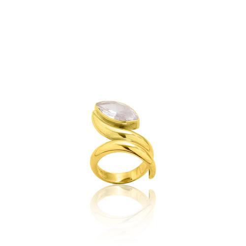Δαχτυλίδι κίτρινο επιχρυσωμένο ασήμι 925, λευκή ημιπ. πέτρα.