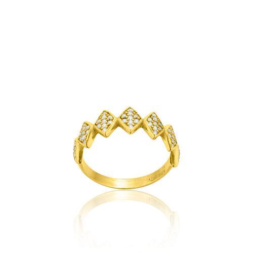 Δαχτυλίδι κίτρινο επιχρυσωμένο ασήμι 925, λευκά ζιργκόν.