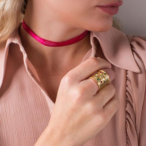 Δαχτυλίδι κίτρινο επιχρυσωμένο ασήμι 925, πολύχρωμα μονόπετρα.