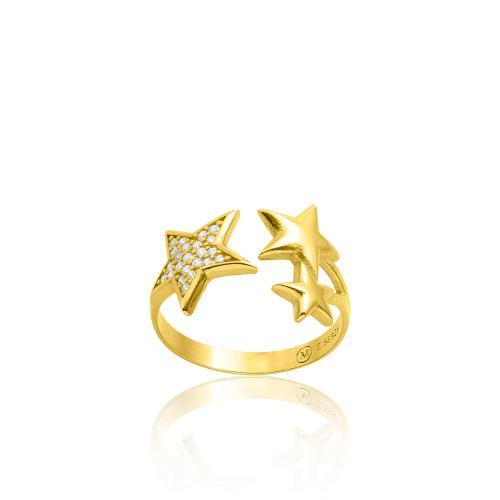 Δαχτυλίδι κίτρινο επιχρυσωμένο ασήμι 925, αστέρι με λευκά ζιργκόν.