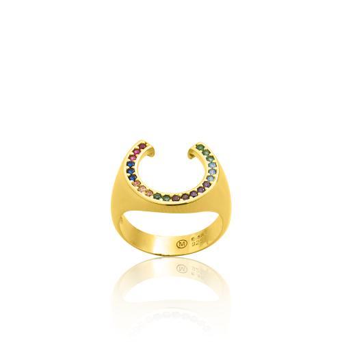 Δαχτυλίδι κίτρινο επιχρυσωμένο ασήμι 925, πέταλο με πολύχρωμα ζιργκόν.