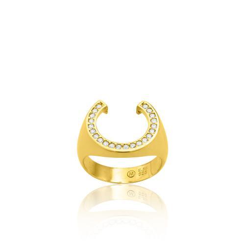 Δαχτυλίδι κίτρινο επιχρυσωμένο ασήμι 925, πέταλο με λευκά ζιργκόν.