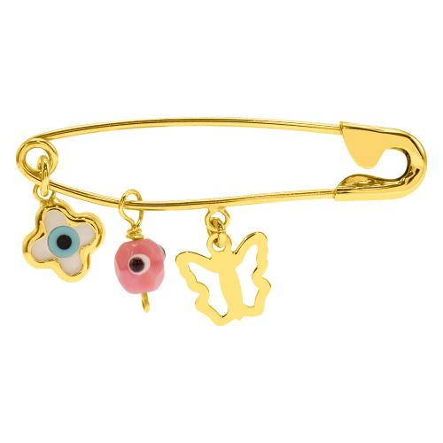 Yellow gold plated sterling silver safety pin, butterfly, evil eye and cross.